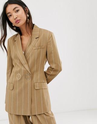Asos Design DESIGN camel stripe suit blazer with popper fastening