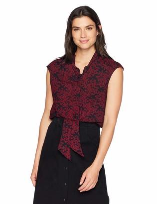 Lark & Ro Women's Crepe de Chine Sleeveless Tie Neck Blouse