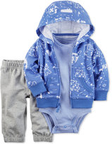 Carter's 3-Pc. Map-Print Hoodie, Bodysuit & Pants Set, Baby Boys (0-24 months)