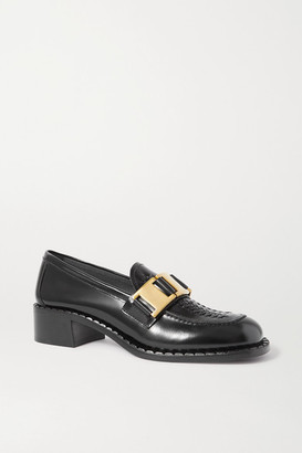 Prada 40 Embellished Woven Glossed-leather Loafers - Black