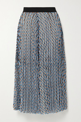 Maje Pleated Metallic Printed Georgette Midi Skirt