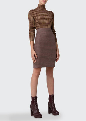 Akris Check Mock-Neck Silk Pullover