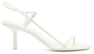 The Row Bare Mid-heel Leather Slingback Sandals - White