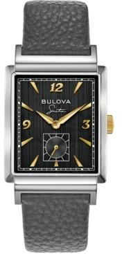 Bulova Men's Frank Sinatra My Way Gray Leather Strap Watch, 29.5 x 47mm