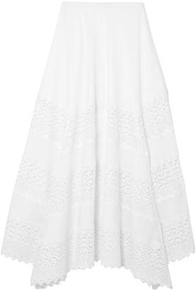 Charo Ruiz Ibiza Ula Guipure Lace-paneled Cotton-blend Midi Skirt