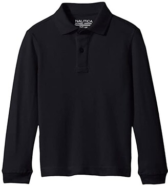 Nautica Long Sleeve Pique Polo (Little Kids) (Navy) Boy's Long Sleeve Pullover