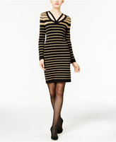 NY Collection Striped Sheath Sweater Dress