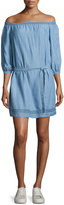 Paige Beatrice Off-the-Shoulder Chambray Dress, Persephone