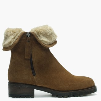 Lamica Brown Suede Chunky Sole Ankle Boots