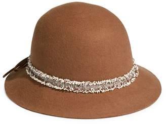 Nine West Felt Raw-Cut Cloche Hat