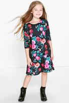 Boohoo Girls Floral Print Long Sleeve Swing Dress