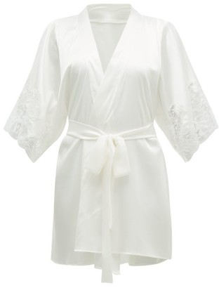 Fleur of England Signature Lace-insert Silk-blend Robe - Womens - White