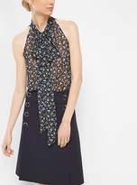 Michael Kors Floral Silk-Georgette Sleeveless Bow Blouse