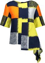 Marni Asymmetric printed crepe blouse