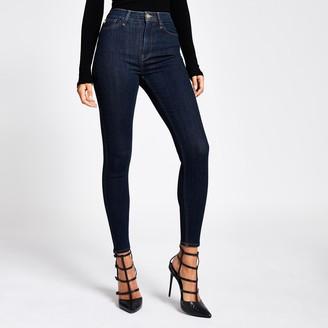 River Island Womens Dark Blue Hailey high rise jeans