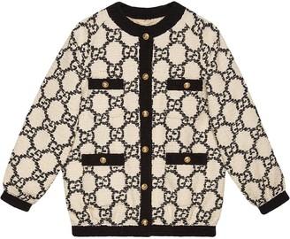 Gucci GG tweed oversized bomber jacket