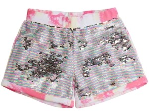 GUESS Big Girls Flip-Sequin Tie-Dyed Cotton Active Shorts