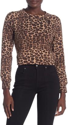Good American Cheetah Cropped Crew Neck Sweater (Regular & Plus Size)