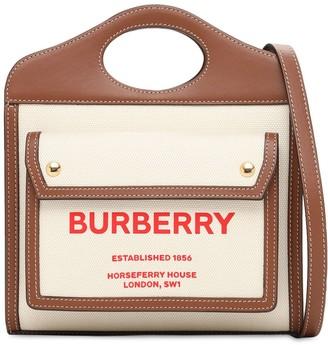 Burberry Mini Pocket Canvas & Leather Bag