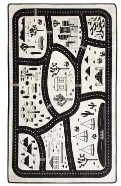 "Zoomie Kids Runge City Gray/Black Area Rug Rug Size: Rectangle 4'7"" x 6'3"""