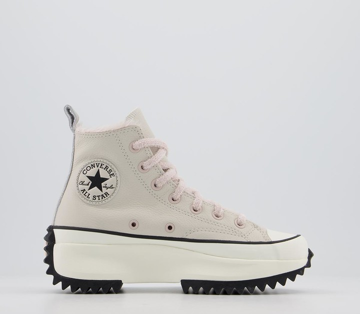 Converse Runstar Hike Trainers Leather Orewood Brown Silt Red Egret