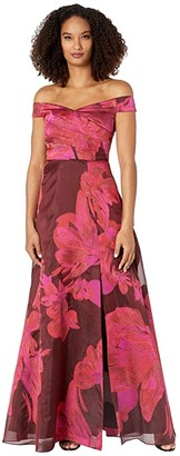 Adrianna Papell Off-the-Shoulder Organza Gown (Red Multi) Women's Dress