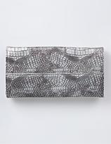 Metallic Snakeskin Foldover Wallet