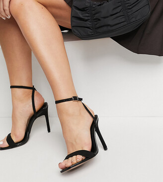 ASOS DESIGN Wide Fit Nala barely there heeled sandals in black