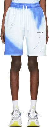 Axel Arigato Blue and White Spray Paint Island Shorts