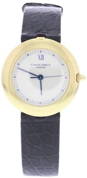 Chaumet Paris 14A-407 18K Yellow Gold & Leather Quartz 30mm Womens Watch