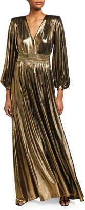 Bronx and Banco Zoe Metallic Lame Blouson-Sleeve Gown
