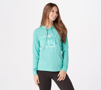 Life is Good Graphic Long-Sleeve Hooded Crusher Tee