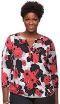 Dana Buchman Plus Size Knit Henley Top