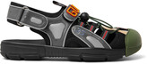 Thumbnail for your product : Gucci Logo-Detailed Rubber, Leather And Mesh Sandals