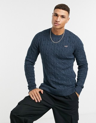 Hollister icon logo lightweight cable knit jumper in navy marl