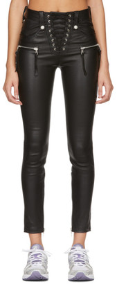 Unravel Black Plonge Leather Corset Pants