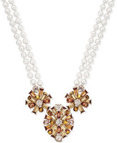 Charter Club Gold-Tone Imitation Pearl Imitation Topaz Necklace, Only at Macy's