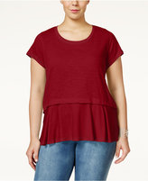 Style&Co. Style & Co. Plus Size Short-Sleeve Flounce-Hem Top, Created for Macy's