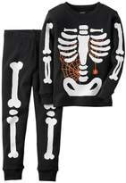 Carter's Boy's Black Halloween Glow-in-the-Dark Skeleton Pajama Pj Set