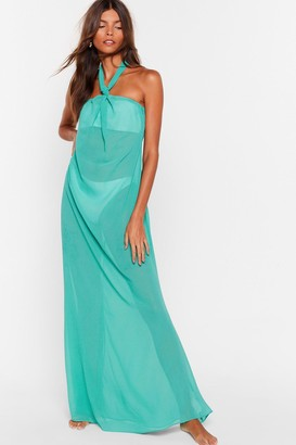 Nasty Gal Womens Shell We Dance Chiffon Cover-Up Dress - Green - 6