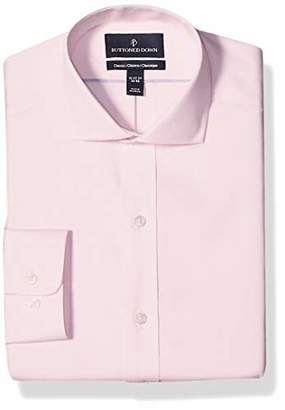 Buttoned Down Amazon Brand Men's Classic Fit Cutaway-Collar Solid Pinpoint Dress Shirt