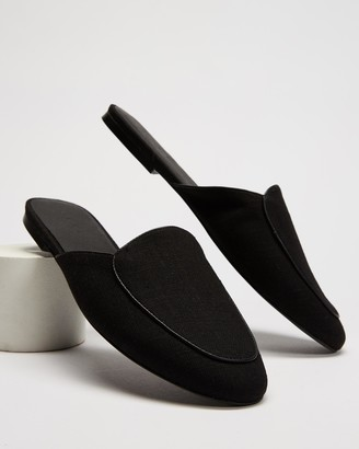 AERE - Women's Black Mid-low heels - Linen Slip-On Mule Flats - Size 6 at The Iconic