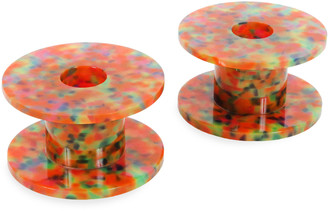 Edie Parker Set-of-Two Printed Acrylic Candlestick Holders