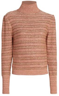 Chloé Stripe Lurex Funnelneck Sweater