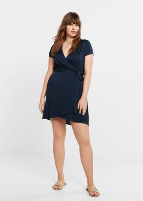 MANGO Violeta BY Leopard print wrap dress blue - 10 - Plus sizes