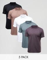 Asos 5 Pack Jersey Polo Shirt SAVE