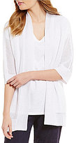 Eileen Fisher Shawl Collar Kimono Sleeve Open Front Knit Cardigan