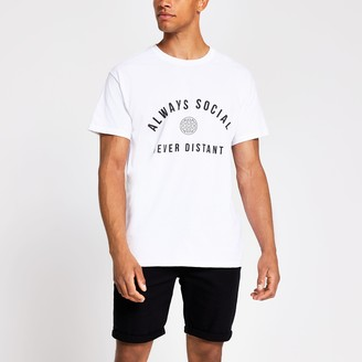 River Island Mens Men Charity Tee 'Always Social Never Distant'