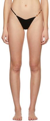 Versace Underwear Black Silk GV Signature Thong