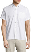 Neiman Marcus End On End Short-Sleeve Shirt, White